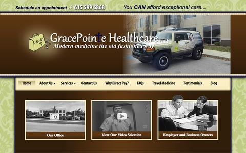 Screenshot of Home Page gracepointehealthcare.com - Modern Healthcare Provider   GracePointe Healthcare Franklin, TN - captured July 24, 2015
