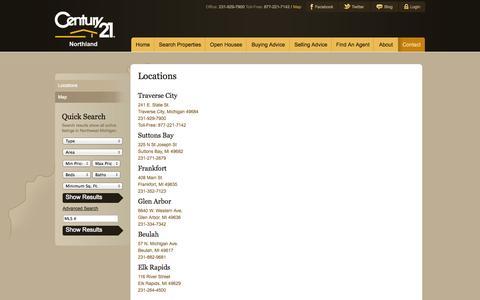Screenshot of Locations Page c21northland.com - Locations : Century 21 Northland - captured Oct. 2, 2014