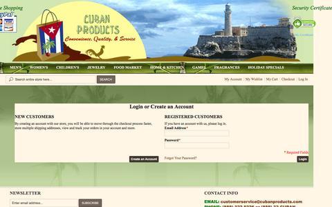 Screenshot of Login Page cubanproducts.com - Customer Login - captured April 10, 2017