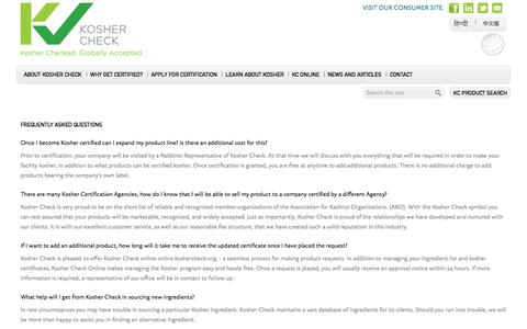 Screenshot of FAQ Page koshercheck.org - Kosher Check | Frequently Asked Questions - captured Oct. 6, 2014