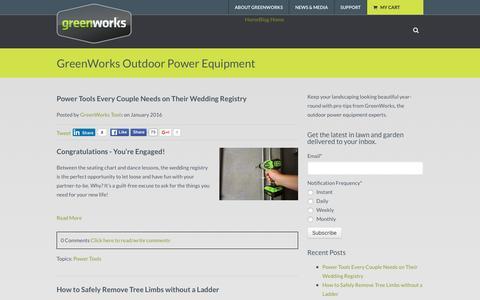 Screenshot of Blog greenworkstools.com - Outdoor Power Equipment | GreenWorks Tools - captured Feb. 2, 2016