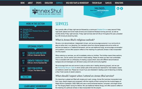 Screenshot of Services Page annexshul.com - Annex Shul   » Services - captured Sept. 30, 2014