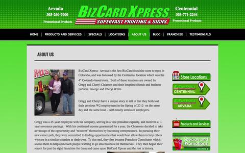 Screenshot of About Page printandpromos4biz.com - Gregg and Cheryl Chiasson with BizCard Xpress in Arvada and Centennial Colorado | printandpromos4biz.com - captured Oct. 5, 2014