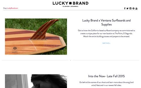 Screenshot of Blog luckybrand.com - Clover - Lucky Brand - captured Oct. 1, 2015