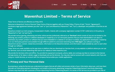 Screenshot of Terms Page mavenhut.com - Terms of Service – Maven Hut - captured Nov. 4, 2018