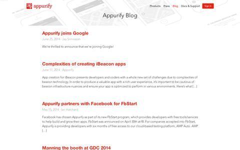 Screenshot of Blog appurify.com - Blog | Appurify - captured Sept. 11, 2014