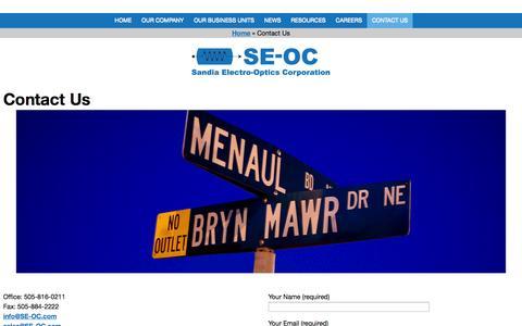 Screenshot of Contact Page se-oc.com - Contact Us - Sandia Electro-Optics Corporation - captured Oct. 4, 2014
