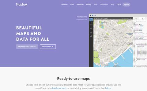 Screenshot of Maps & Directions Page mapbox.com - Maps | Mapbox - captured Nov. 18, 2015