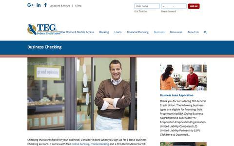 Screenshot of tegfcu.com - Business Checking – TEG Federal Credit Union - captured Dec. 2, 2017