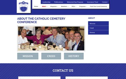 Screenshot of About Page catholiccemeteryconference.org - About The Catholic Cemetery Conference : Catholic Cemetery Conference - captured July 19, 2015