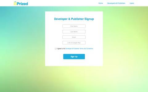 Screenshot of Signup Page prized.mobi - Prized | Signup - captured Sept. 17, 2014