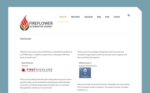 Screenshot of Testimonials Page fireflower-alternative-energy.com - Testimonials - FireFlower Alternative Energy - captured Jan. 8, 2016