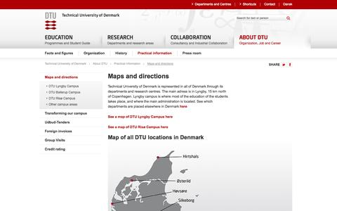 Screenshot of Maps & Directions Page dtu.dk - Maps and directions - Technical University of Denmark - captured Oct. 23, 2014