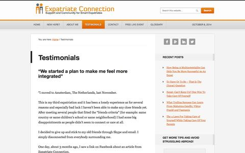 Screenshot of Testimonials Page expatriateconnection.com - Testimonials - Expatriate Connection - captured Oct. 8, 2014
