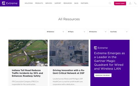 Screenshot of Case Studies Page extremenetworks.com - Resources - Extreme Networks - captured July 18, 2019