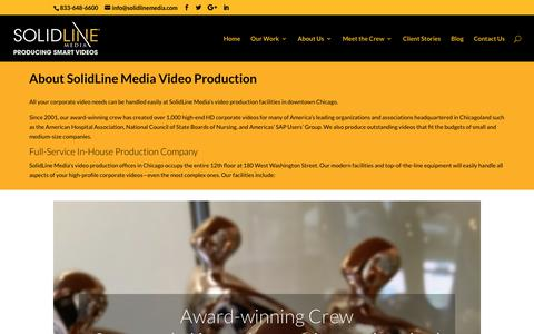 Screenshot of About Page solidlinemedia.com - Video Production Company in Chicago, IL - SolidLine Media - captured Oct. 20, 2018