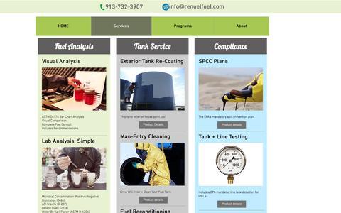 Screenshot of Services Page renuelfuel.com - reNUEL Fuel - Fuel Quality Management Services - captured Dec. 16, 2016