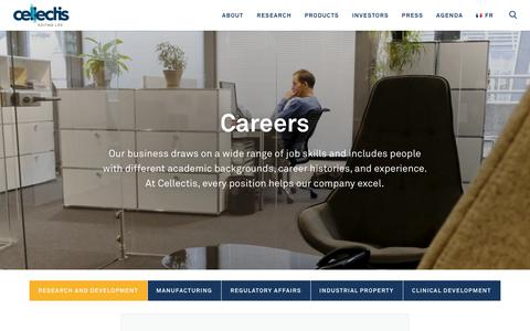 Screenshot of Jobs Page cellectis-bioresearch.com - Careers | Cellectis - captured Oct. 19, 2018
