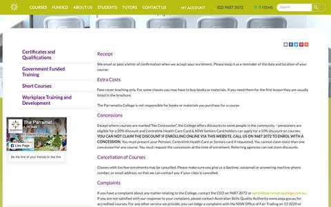 Screenshot of Terms Page parramattacollege.com.au - Terms and Conditions Parramatta College - captured Oct. 20, 2018