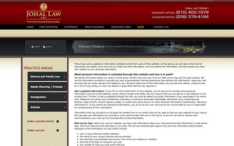 Screenshot of Privacy Page connichlaw.com - Privacy Policy | JOHAL LAW APC | - captured Oct. 2, 2014
