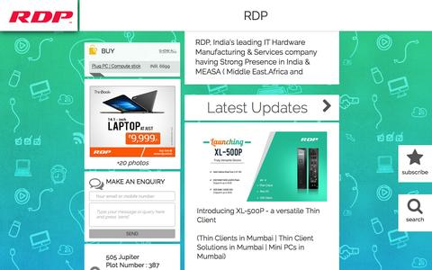 Screenshot of Blog rdp.in - RDP in Mumbai; RDP, India's leading IT Hardware Manufacturing & Services company having Strong Presence in India & MEASA ( Middle East,Africa and South Asia) Region. Started with a mission to provide Simplified.. Affordable.. Computing.. Solutions  - captured Sept. 2, 2016