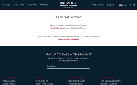 Screenshot of Jobs Page bremont.com - Careers at Bremont — Bremont Watches USA - captured Dec. 12, 2018