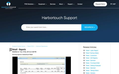 Screenshot of Support Page harbortouch.com - Retail - Reports : Harbortouch Support Center - captured Oct. 9, 2018