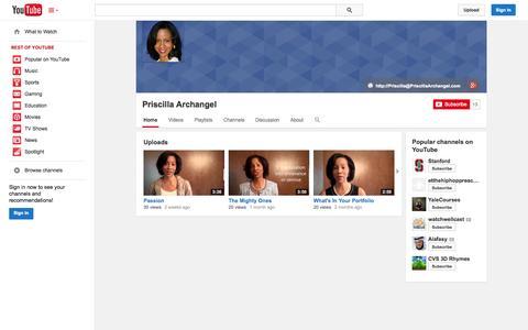 Screenshot of YouTube Page youtube.com - Priscilla Archangel  - YouTube - captured Oct. 23, 2014
