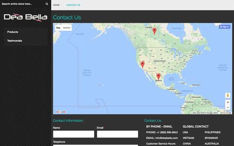 Screenshot of Contact Page deabella.com - Contact Us - captured Nov. 20, 2016