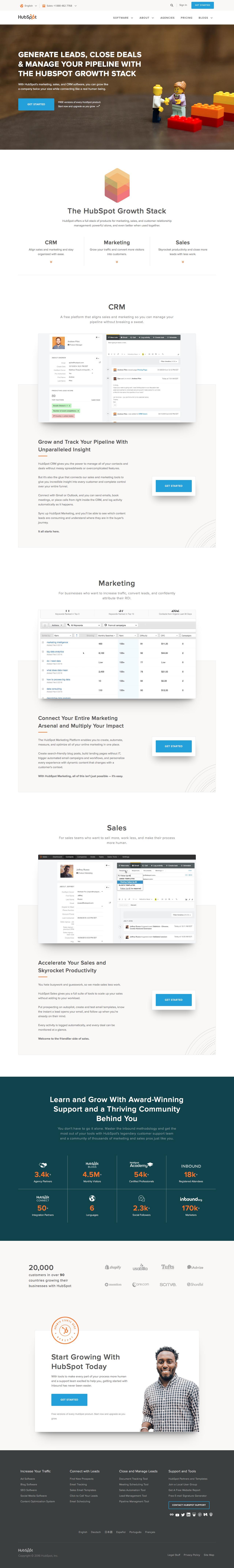Screenshot of hubspot.com - HubSpot | Inbound Marketing & Sales Software - captured Nov. 10, 2016