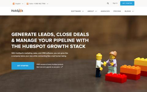 Screenshot of Home Page hubspot.com - HubSpot | Inbound Marketing & Sales Software - captured Nov. 10, 2016