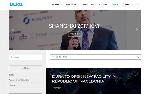 Screenshot of Press Page duraauto.com - Media — DURA | Innovation Driven by Inspiration.™ - captured Dec. 9, 2018
