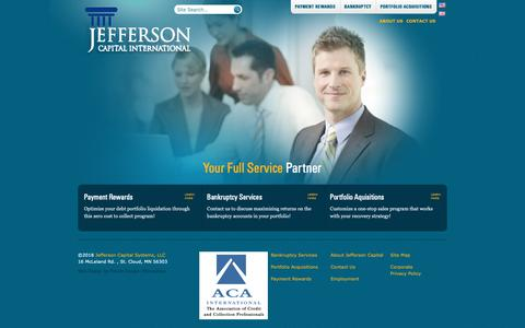 Screenshot of Menu Page jeffersoncapitalinternational.com - Jefferson Capital Systems (US) - Payment Rewards Bankruptcy Collection and Debt Collection Services - captured Oct. 13, 2018