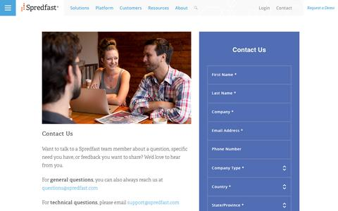Screenshot of Contact Page spredfast.com - Social Media Company | Spredfast | Austin, TX | Contact Us - captured Feb. 28, 2017
