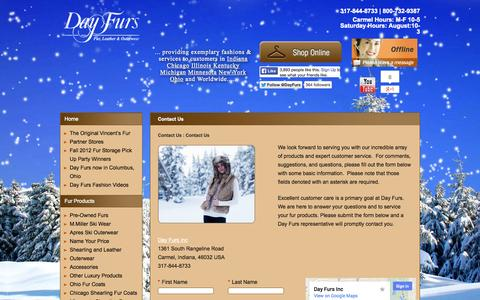 Screenshot of Contact Page dayfursinc.com - Shearling and Furs and More   Day Furs   Carmel Indianapolis - captured Oct. 5, 2014