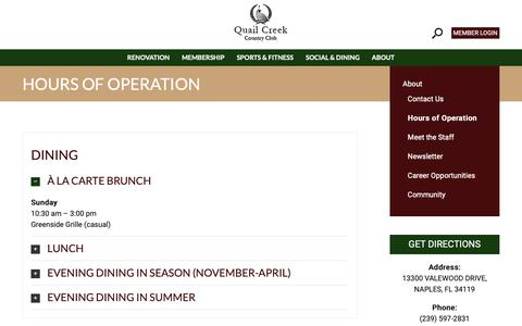 Screenshot of Hours Page quailcreekcc.com - Quail Creek Country Club | Hours of Operation | Naples, FL - Quail Creek Country Club - captured Sept. 28, 2018