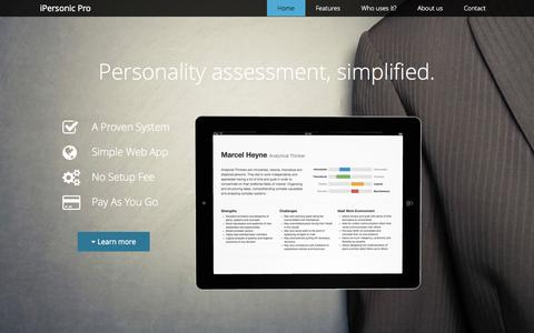 Screenshot of Home Page ipersonic.pro - iPersonic for Professionals - Personality assessment, simplified. - captured Jan. 28, 2015