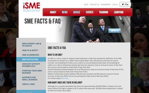 Screenshot of FAQ Page isme.ie - SME Facts & FAQ - ISME - captured Sept. 30, 2014
