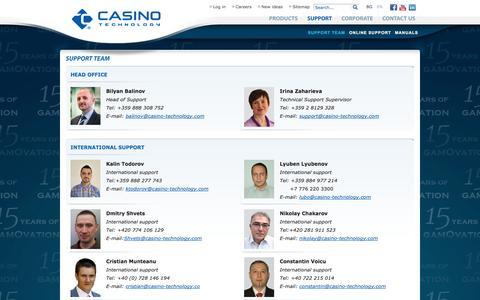 Screenshot of Support Page casino-technology.com - Casino Technology - captured Nov. 2, 2014
