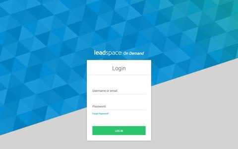 Screenshot of Login Page leadspace.com - Login - captured June 19, 2019