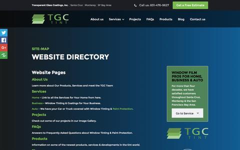 Screenshot of Site Map Page transparentglasscoatings.com - Website Directory   Site-Map   Transparent Glass Coatings - captured Dec. 3, 2016