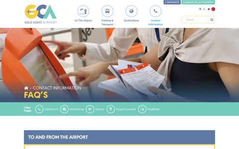 Screenshot of FAQ Page goldcoastairport.com.au - FAQ's - Gold Coast Airport - captured July 18, 2018