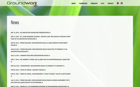 Screenshot of Press Page groundworkbioag.com - News - captured Dec. 15, 2015