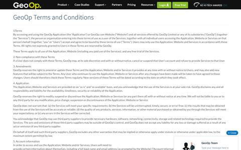 Screenshot of Terms Page geoop.com - Terms and Conditions - GeoOp - captured Dec. 4, 2015