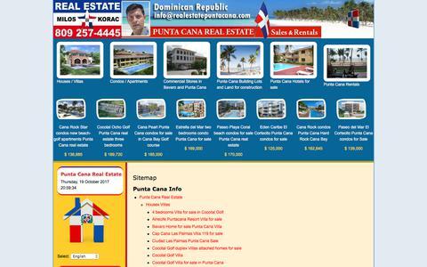Screenshot of Site Map Page realestatepuntacana.com - Punta Cana Real Estate > Sitemap - captured Oct. 20, 2017