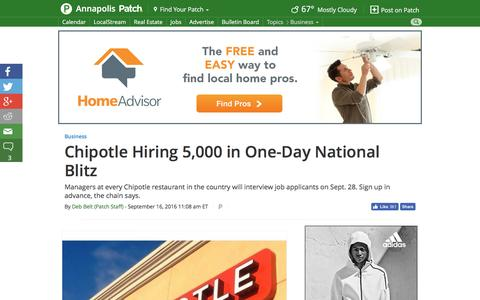 Screenshot of patch.com - Chipotle Hiring 5,000 in One-Day National Blitz - Annapolis, MD Patch - captured Sept. 17, 2016