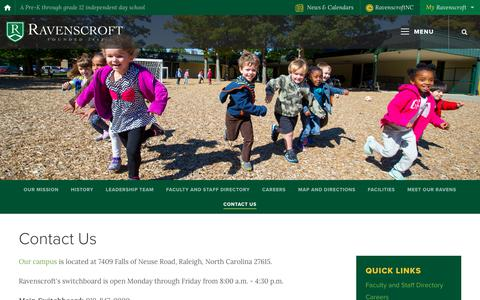 Screenshot of Contact Page ravenscroft.org - Contact Us - Ravenscroft School - captured Feb. 2, 2018