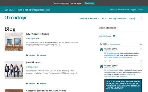 Screenshot of Blog chronologic.co.uk - Chronologic Workforce Management Blog   Time and Attendance - captured Sept. 28, 2018