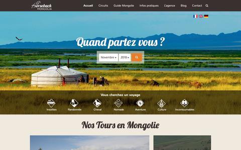 Screenshot of Home Page voyage-mongolie.com - Agence de voyage en Mongolie - Horseback Mongolia - captured Oct. 29, 2018