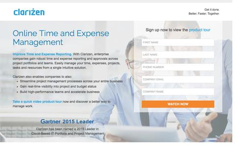 Screenshot of Landing Page clarizen.com - Online Time and Expense Management - captured March 17, 2016